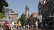 Busy bridge with church in old town,Delft,Netherlands Stock Footage
