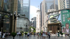 China Chongqing central city shopping square Stock Footage