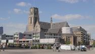 Laurenskerk church on Blaak square,Rotterdam,Netherlands Stock Footage