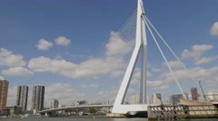 Erasmus bridge over Maas river,Rotterdam,Netherlands Stock Footage