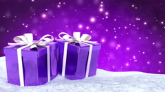 Christmas gifts in snow on bokeh purple background. Seamless loop. 3D render Stock Footage