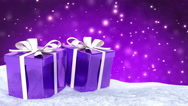 Christmas gifts in snow on bokeh purple background. Seamless loop. 3D render Stock Footage