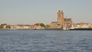 Big church and riverfront houses,Dordrecht,Netherlands Stock Footage