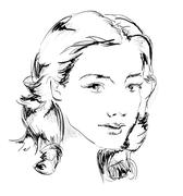 Beauty girl face Stock Illustration