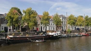 Houses with trees along canal,s-Hertogenbosch,Netherlands Stock Footage