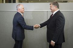 Australian Prime Minister Malcolm Turnbull and Petro Poroshenko Stock Photos