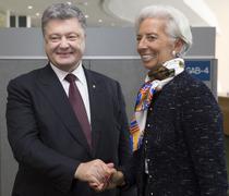 Director of International Monetary Fund Christine Lagarde and Petro Poroshenk Stock Photos