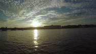 Sunset on the Neva River Stock Footage