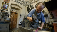 Blacksmith at the forge Stock Footage