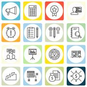 Set Of Project Management Icons On Investment, Personality, Creativity And Mo Stock Illustration