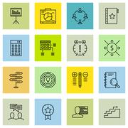 Set Of Project Management Icons On Teamwork, Best Solution, Award And More. P Stock Illustration