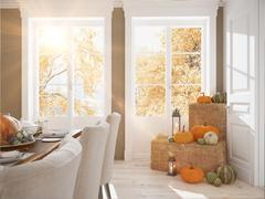 Nordic kitchen in an apartment. 3D rendering. thanksgiving concept. Stock Illustration
