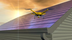 UAV drone inspecting integrated photovoltaic solar shingle roof Stock Footage