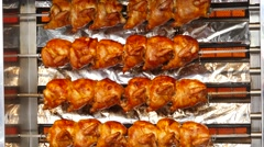 4K 2016 Munich Oktoberfest Grilled Roasted Chicken German Beer festival Stock Footage