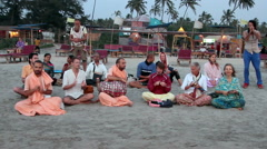People from the Hare Krishna singing Stock Footage
