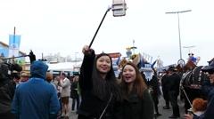 4K 2016 Asian tourists take Selfie Munich Oktoberfest Octoberfest German Beer Stock Footage