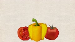 Animated backgrounds , animated vegetables appear in the frame, Luma Matte, Stock Footage