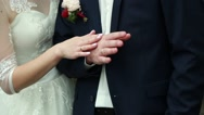 Bride and groom holding hands wedding Stock Footage