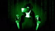 Virtual matrix woman fitness weights MS Stock Footage