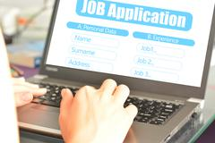 Job application online platform to search for a new work place Stock Photos