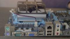 Engineer repairing screwdriver motherboard Stock Footage