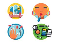 Making make-up icons Stock Illustration