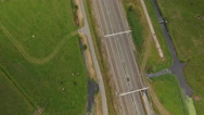 Train passing in landscape, aerial perspective. Stock Footage