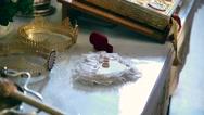 Wedding rings on church altar Stock Footage