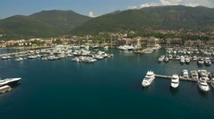 Aerial view of pier with yachts Stock Footage