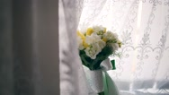 Wedding bouquet of flowers on a uniform background Stock Footage