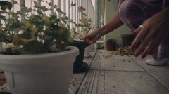 A woman in pajamas cleaning flower pots right before the storm Stock Footage