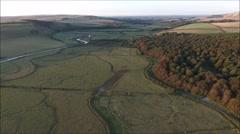 Cuckmere valley flyover Stock Footage