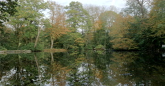 English Woodland: Rural autumnal lake; pan Stock Footage