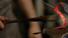 Handmade blacksmith forging metal Stock Footage