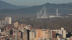 Girona, view of the modern town and industrial complex, Catalonia, Spain Stock Footage