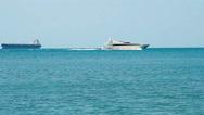 Luxury white speed yacht in open waters Stock Footage