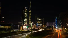 Milan, Italy: skyscrapers of Porta Nuova Varesine district. Night view. Stock Footage