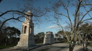 The Masoleum of the Julii and the Triumphal Arch, Glanum, Provence, France, pan Stock Footage