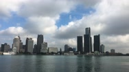 4K UltraHD View of the Detroit skyline across the river Stock Footage