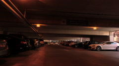 Hospital parking garage dark lights walking POV 4K Stock Footage