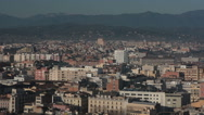 Girona, panoramic view of the city and the surroundings, Catalonia, Spain, pan Stock Footage