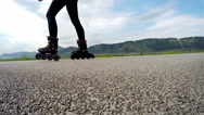 Slow-motion footage of a person roller-skating Stock Footage