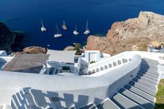 Oia. Traditional architecture of Santorini. Stock Photos