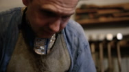 Blacksmith at the forge. smithing Stock Footage