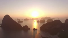 Sunrise above islands group in Phang Nga bay Stock Footage