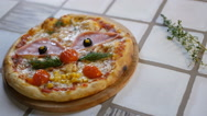 The pizza on the table. The food on the table, salad, pizza, Stock Footage