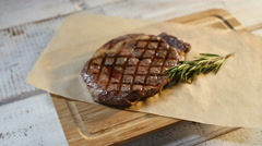 Meat food : roast beef fillet mignon served on plate Stock Footage