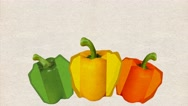 Animated backgrounds ,  three peppers appear on kraft paper, Luma Matte, Stock Footage