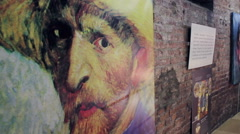Exhibition of Fake Vincent Willem van Gogh Paintings Stock Footage