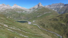 "Aerial video of the pass ""Oberalp"" in Grisons, Switzerland, 4K, UHD Stock Footage"